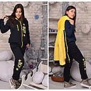 Детский теплый спортивный костюм c цветным мехом для подростков стиль унисекс (3 цвета) фото