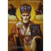 Икона из янтаря Николай Чудотворец. Ручная работа фото