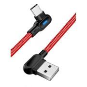 Угловой USB-кабель для зарядки телефонов с Type C-разъемом, 1 м, красный фото