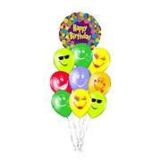 """Облако из воздушных шаров """"С днем рождения смайлы"""" Ф-018 фото"""