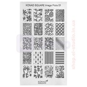 Мини пластина для стемпинга Konad Square Image Plate 01 фото