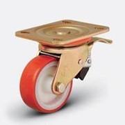 Большегрузное полиуретановое поворотное колесо с тормозом ED01 ZBP фото