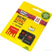 Карта памяти 32gb microsdhc class 10 466x nitro uhs-i u1 read:70mb/sec srn32gtfu1c, 3в1: sd-адаптер, usb-адаптер фото