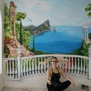 Декоративная роспись на стене. Кухня фото