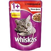 Whiskas 85г пауч Влажный корм для взрослых кошек от 1 года Говядина (мини-филе) фото