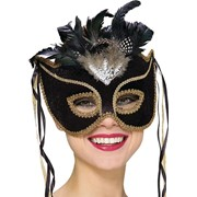 Бархатная маска для карнавала RB-4273 фото