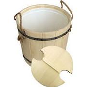 Запарник для бани и сауны деревянный с пластиковым вкладышем на 15 литров фото