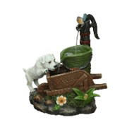Садовый декоративный фонтан Щенок у тележки фото