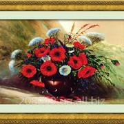 """Набор для рисования камнями на холсте """"Летний букет"""" 5D-018 фото"""