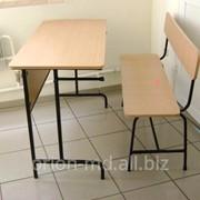 Школьная парта 2-х местная с общей скамьей фото