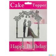 Топпер на торт «Влюблённая пара в арке» фото