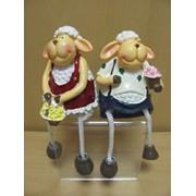 Парочка овечек 2шт.с цветами и лейкой с висячими ножками, арт. 88041 фото