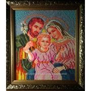 Икона Святое Семейство, ручная работа, вышивка бисером фото