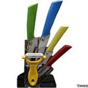 Комплект керамических ножей на подставке фото