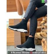 Кроссовки хайтопы Balenciaga Speed трикотаж черные фото