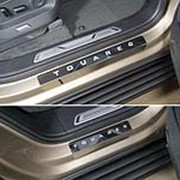 Накладки на пороги VW Touareg 2018-наст.время (лист зерк. надпись Touareg 4шт) фото