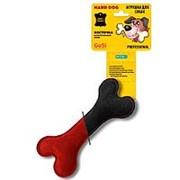 Игрушка для собак GoSi Кость Натуральная кожа Черная-велюр красный этикетка еврослот фото