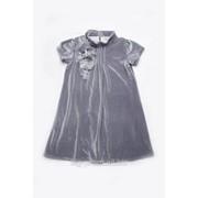Платье нарядное бархат серое фото