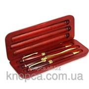 Набор подарочный из дерева, ручка шариковая, карандаш фото