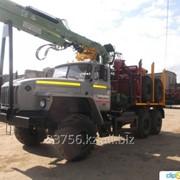 Лесовоз УРАЛ 55571-70 с прицепом-роспуском и манипулятором ЛВ-185-14 (Лесовозный автопоезд) фото