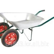 Тачка садово-строительная 2-х колесная 65л. оцинк. кузов надувные колеса ТАЧ902 фото