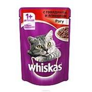 Whiskas 85г пауч Влажный корм для взрослых кошек от 1 года Говядина и ягненок (рагу) фото