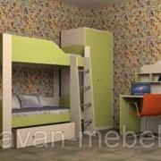 Детская комната Астра 2 дуб молочный салатовый фото