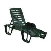 Пластиковый шезлонг-лежак Fisso для отдыха. Лежак цельный, имеет 4 позиции регулировки спинки, поручни фото
