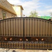 Механические ворота из кованого железа № 34 фото