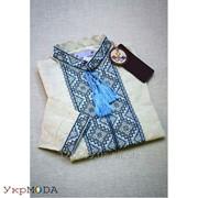 Красивая льняная мужская рубашка с синей вышивкой (Б-09) фото