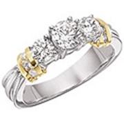 Помолвочные кольца двухцветные фото