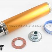 Глушитель тюнинг 420*100mm, креп. Ø78mm нержавейка, золотой, прямоток, mod:2 фото