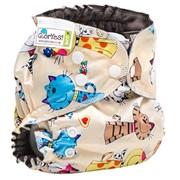 Многоразовый подгузник GlorYes! OPTIMA NEW Коты на бежевом 3-18 кг + два вкладыша фото