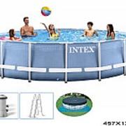 Бассейн раскладной с металлическим каркасом 457х122см(16805л) комплектация:бассейн+фильтр 3785л+подложка+чехол+лестница+dvd вн:26736 фото