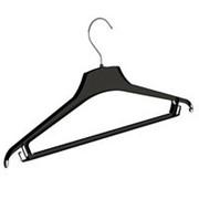 Вешалка плечики для одежды из пластика, с перекладиной и крючками, ширина 440мм, цвет черный. MD-KV 44-4 фото