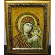 Икона Матерь Божья Казанская в янтаре фото