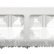 Рамка двойная горизонтальная Zirve SilverLine синяя со вставкой 501-1212-226 фото