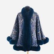 Куртка из павловопосадского платка с мехом песца фото