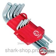 Набор Г-образных шестигранных ключей с шарообразным наконечником, 9ед.,1.5-10мм,Cr-V, 55 HRC Small HT-0605 фото