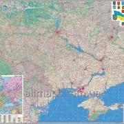 Настенная карта автомобильных дорог Украины 160х110 см; М 1:850 000 - ламинированная фото