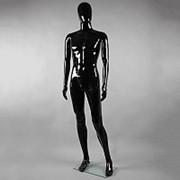 Манекен мужской в полный рост, без лица, черный глянец, для магазина одежды MA-2B фото