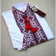 Красочная белая вышитая рубашка для мужчин (Б-06) фото