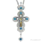 Крест для священнослужителя из ювелирного сплава со вставками и латунным принтом 2.10.0133л-2 фото