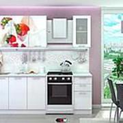 "Кухня с фотопечатью ""КЛУБНИКА СО СЛИВКАМИ"" 1,8м. фото"