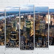 Модульна картина на полотні Нью-Йорк. Вечір код КМ100150(132)-074 фото