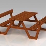 Стол со скамейками Модель П26 фото