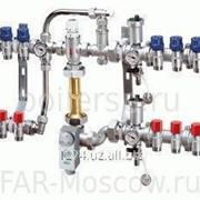 Сборный регулирующий узел для напольного и радиаторного отопления, 4 отвода на теплый пол + 2 отвода на радиатор, отводы М24х19, артикул FK 3483 C10402 фото