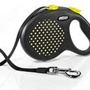 Поводок-рулетка Flexi Design tape L 5m 50 kg черный/желтый горох фото