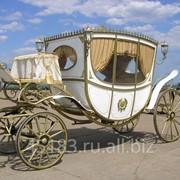 Карета Екатерина (кузов белый, салон беж, золото) фото