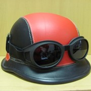 Шлем байкера Немецкийс очками коричневый, арт. 151001/9 фото